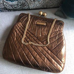 Isabella Fiore Bronze Leather Handbag
